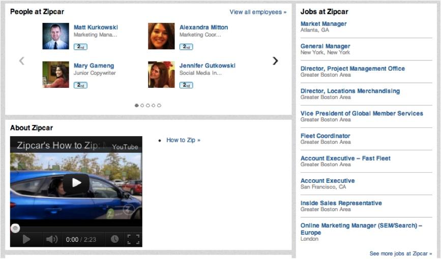 ZipCar Linkedin Jobs Page