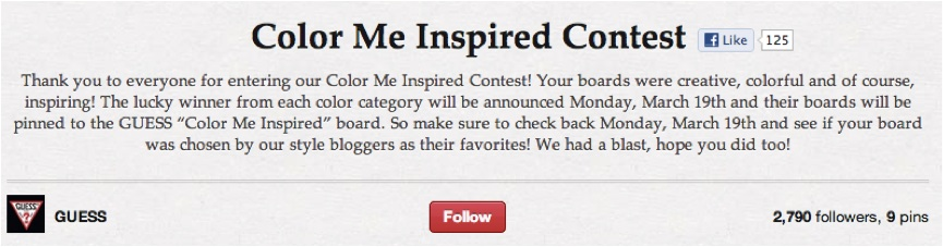 Guess Pinterest Color Me Inspired Contest